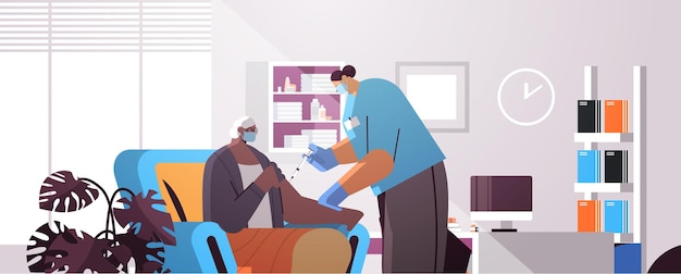 Female doctor in mask vaccinating old patient practitioner giving injection to senior woman fight against coronavirus vaccination concept modern clininc interior horizontal portrait vector illustratio