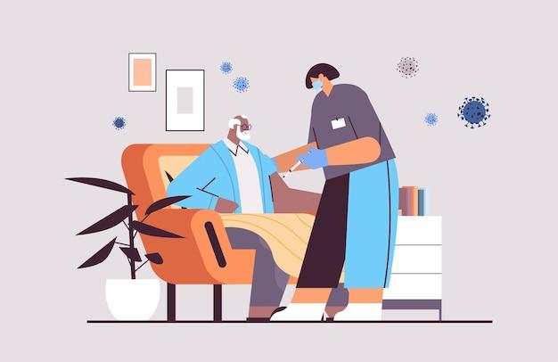 Female doctor in mask vaccinating senior man patient fight against coronavirus vaccine development concept full length horizontal vector illustration