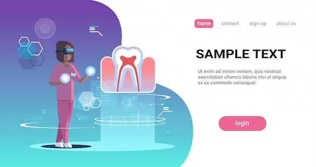 Female doctor nurse wearing digital glasses looking virtual reality tooth human organ anatomy