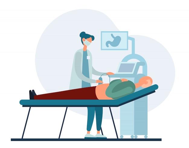 Женщина-врач проводит ультразвуковое исследование человека