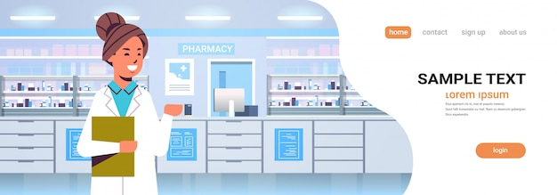 Female doctor pharmacist with clipboard modern pharmacy drugstore interior medicine healthcare concept horizontal portrait copy space