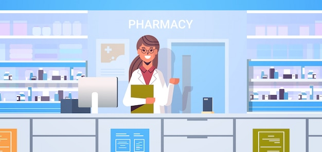 Female doctor pharmacist with clipboard standing at pharmacy counter modern drugstore interior medicine healthcare concept horizontal portrait