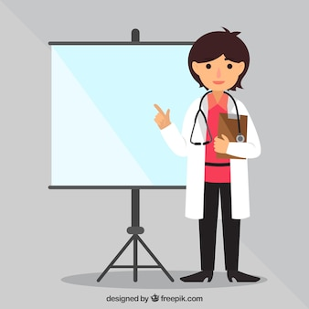 Female doctor pointing at board