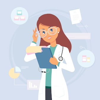 女医が医療分析を読む