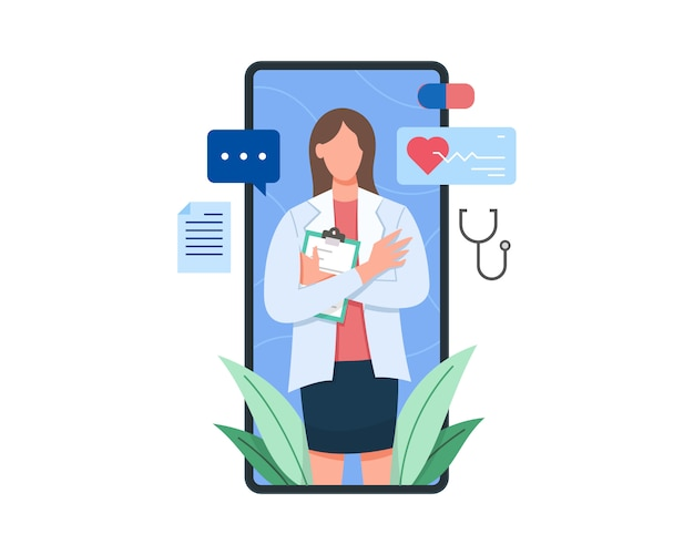 Female doctor on the screen of smartphone holding clipboard