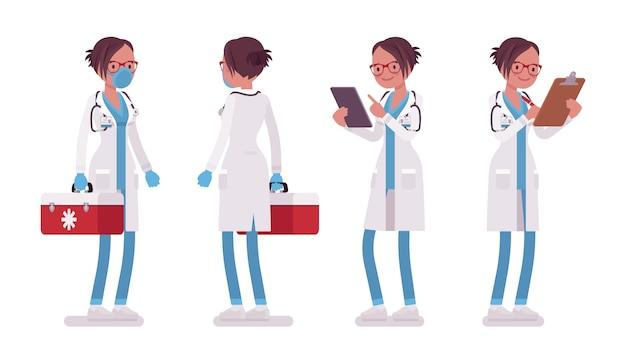 Женский доктор стоя позы. женщина в больничной форме с коробкой медсестры, файлами. концепция медицины и здравоохранения. иллюстрации шаржа стиля на белом фоне, спереди, вид сзади