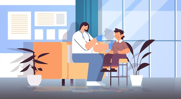 Female doctor taking swab test for coronavirus sample from little boy patient pcr diagnostic procedure covid-19 pandemic concept clinic interior full length horizontal vector illustration