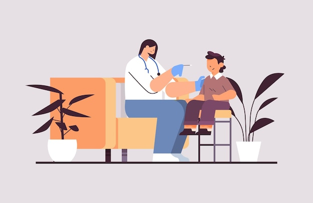 Female doctor taking swab test for coronavirus sample from little boy patient pcr diagnostic procedure covid-19 pandemic concept full length horizontal vector illustration