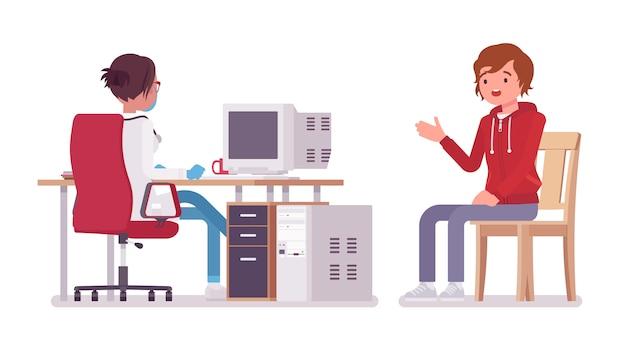 Женский врач терапевт и пациент