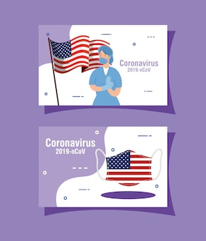 Female doctor and usa flag covid19 pandemic