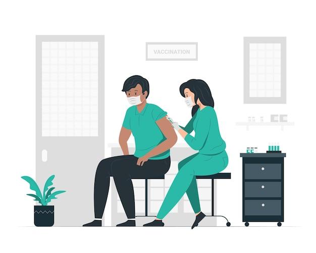 Женщина-врач, вакцинирующая пациента в клинике