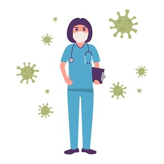 Женщина-врач в медицинской маске. предотвратить эпидемию коронавируса. остановить covid-. медицинский персонал.