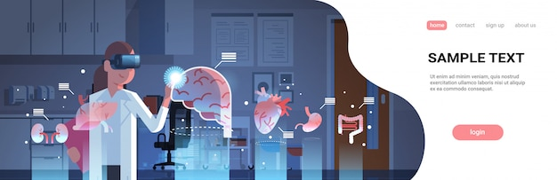 Женщина-врач в цифровых очках, глядя на шаблон страницы посадки органов виртуальной реальности
