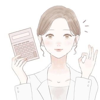초심자 표시가 있는 여성 의사, ing 확인 표시. 흰색 배경에.