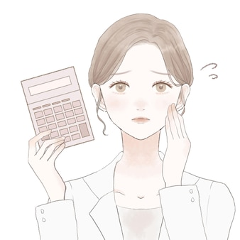 고민된 표정으로 계산기와 여성 의사입니다. 흰색 배경에.
