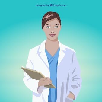 Dottore femminile con appunti