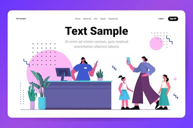 Female doctor with syringe invites patients for vaccination fight against coronavirus vaccine development concept horizontal full length copy space vector illustration