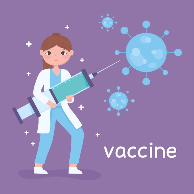 Covidワクチンの注射器を持つ女性医師