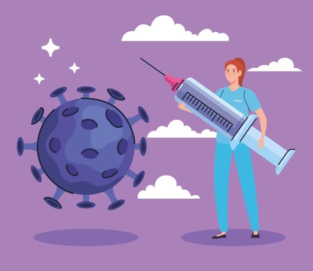 ワクチン注射器のキャラクターとcovid19粒子を持つ女性医師
