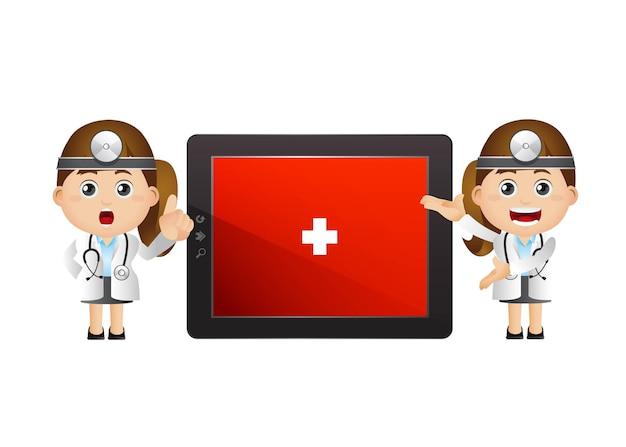 여성 의사와 큰 태블릿 화면