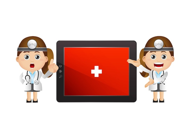 Female doctors and big tablet screen