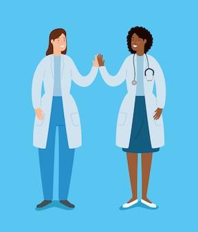 手を繋いでいる女性医師のアバターキャラクター
