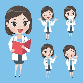 Female doctors in various gestures in uniform.