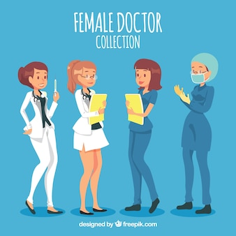 Female doctors with folders, mask and vaccine