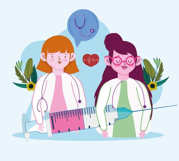 주사기와 여성 의사