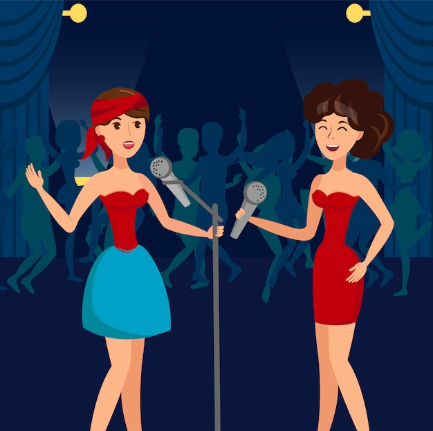 Female duet in night club vector illustration