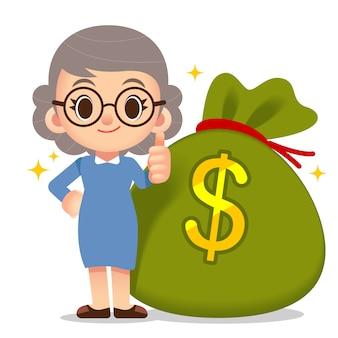 Female elder character standing by side giant money bag