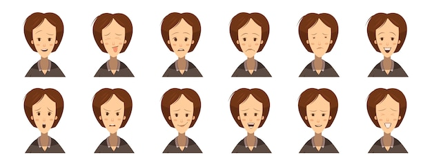 Female emotions avatars set cartoon style