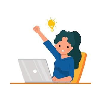 カジュアルな服装の女性従業員がアイデアを得ます。解決策を考える。ラップトップを使用して幸せなやる気のある女性。仕事のクリップアート。白のイラスト。