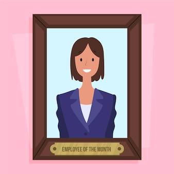 月コンセプトの女性従業員
