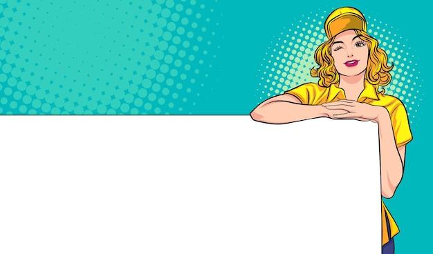 空のバナーを提示する女性従業員ポップアートコミックスタイル
