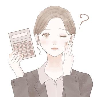 계산기와 여성 직원, 질문입니다. 흰색 배경에. 심플하고 귀여운 디자인.