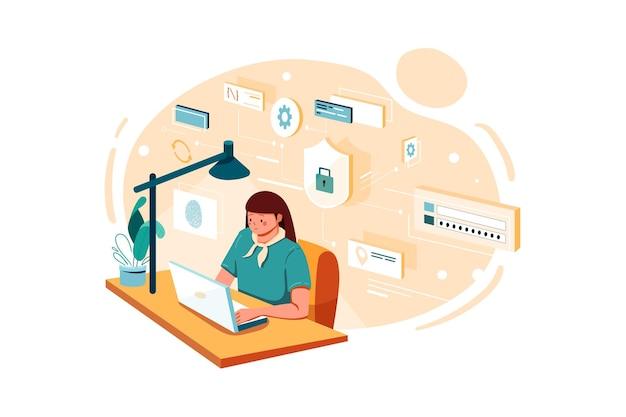 Сотрудник женского пола, работающий над безопасностью данных иллюстрация Premium векторы