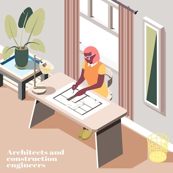 Female engineer composing technical drawing in modern office isometric interior view
