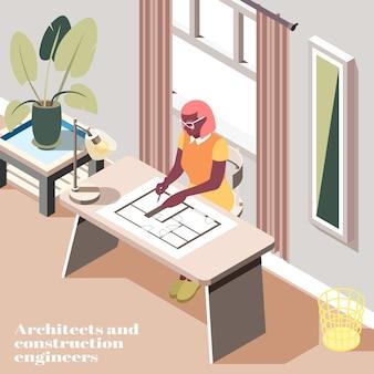 Ingegnere femminile che compone il disegno tecnico nella vista interna isometrica dell'ufficio moderno