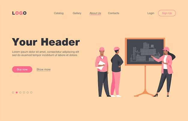 Инженер-женщина, стоя возле доски, объясняя проект. проект, здание, рабочая плоская целевая страница. концепция строительства и архитектуры для баннера, веб-дизайна или целевой веб-страницы