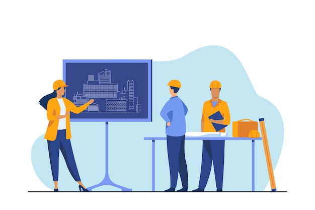 Female engineer standing near chalkboard explaining project. draft, building, worker flat vector illustration. construction and architecture