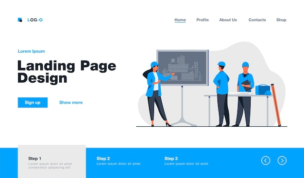 Female engineer standing near chalkboard explaining project landing page in flat style