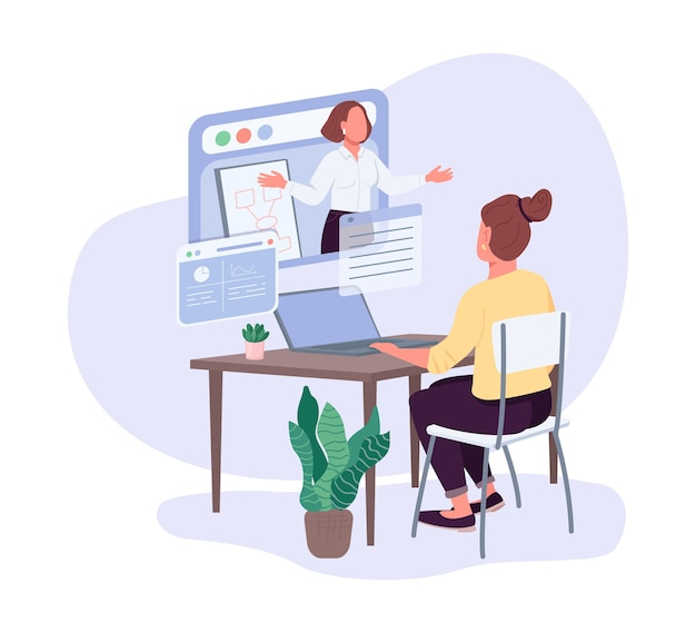 Female entrepreneurs business courses flat color faceless character. professional development opportunities. leadership lesson isolated cartoon illustration for web graphic design and animation