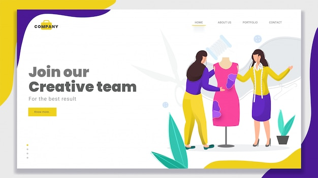 Female er produces a modern dress for join our creative team  based landing page .