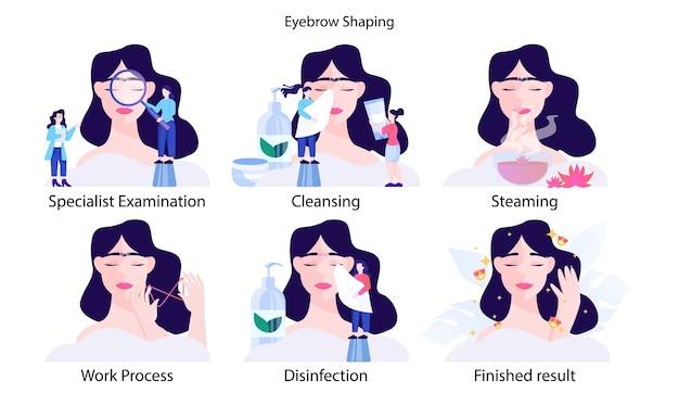 女性の眉毛の幸福のステップ。若い女性makig完璧な眉毛の専門家。美容ルーチン。設計。