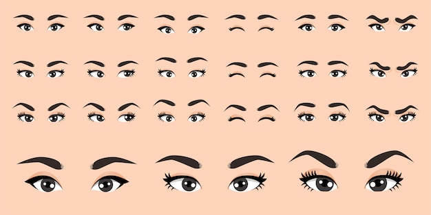 Female eyes collection  illustration