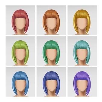 背景に色とりどりの毛のアイコン画像と女性の顔アバタープロフィールヘッド