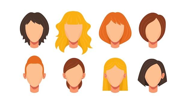 여성 얼굴 생성자, 다른 헤어스타일과 머리 색깔 금발, 갈색 또는 생강을 가진 백인 여성 캐릭터 생성 머리의 아바타. 건설용 얼굴 요소. 만화 벡터, 설정