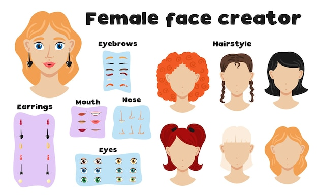 여자 얼굴 평면 그림을 만드는 눈썹 헤어 스타일 코 입 눈 요소의 여성 얼굴 생성자 세트