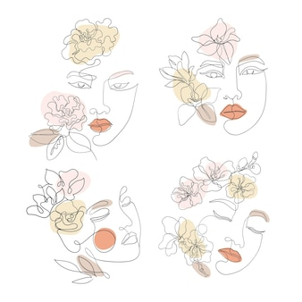 Female face line art with sakura, camellia, magnolia flowers. asian woman drawn continuous style, set vector liner for cosmetic business